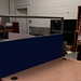 Tall blue fabric screen with vision panel