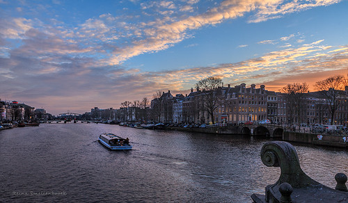 city sunset water amsterdam zonsondergang cityscape stad amstel blauwbrug reinasmallenbroek