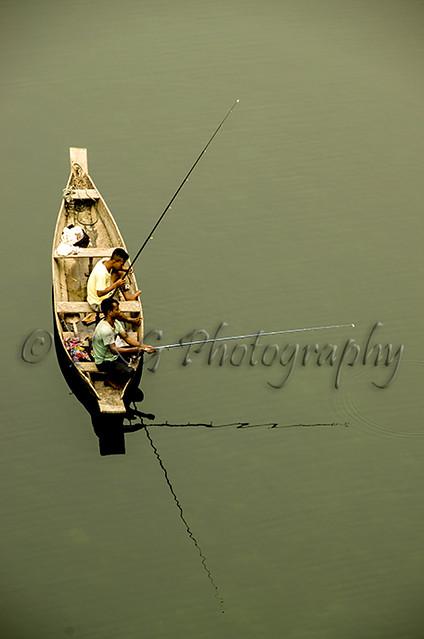 Fishing at Dawki, Meghalaya, India