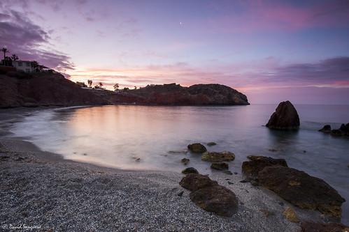 pink cliff seascape beach sunrise reflections landscape dawn sand rocks shadows purple tripod shoreline murcia cloudscape mazarrón canonef1635mmf4lisusm canoneos6d badstone