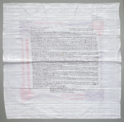 Message on handkerchief to President Obama
