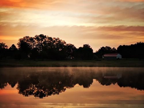 orange water fog sunrise pond south foggy hipstamatic
