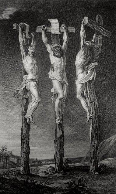 Christ's earthly ministry in the Phillip Medhurst Bible 424 of 550 Jesus is crucified Matthew 27:35 after Rubens