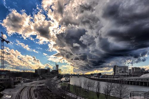 above city bridge blue winter sunset sky philadelphia clouds river dark flow iso200 nikon stream glow power head sunday touch wide january dramatic down pa f71 18mm phila schuylkillriver 1400 d90 igordanilov იგორდანილოვი
