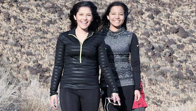 Sisters on a stylish hike