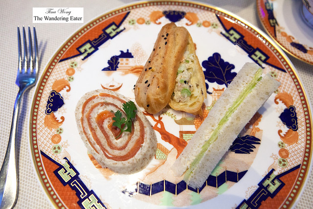 Smoked Sockeye salmon, lemon caper and cream cheese spiral, cucumber with horseradish tea sandwich and Curried pink shrimp eclair