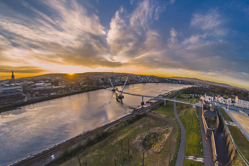 city bridge sunset water river peace derry drone peacebridge foyle riverfoyle