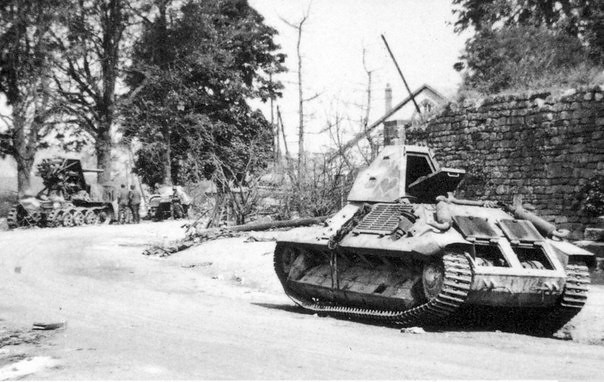 Wrecked French tank FCM 36 of 2nd company of 7th BCC