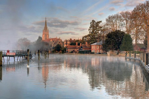 morning england reflection thames sunrise river postcard marlow weir