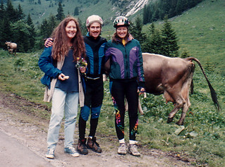 Antoinette, Mark and Patty in countryside with cows, Meiringen, Switzerland, 1994