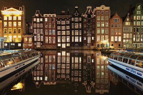 Amsterdam Damrak Leaning Canal Houses