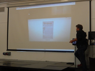 James presenting what he did at Wuthering Hacks | by Newcastle Libraries