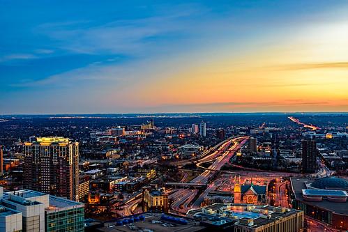 city winter sunset minnesota clouds us unitedstates minneapolis lighttrails bluehour civiltwilight foshaytower i35w whotelfoshay observatondeck imagenusphotography foshaymuseumandobservationdeck