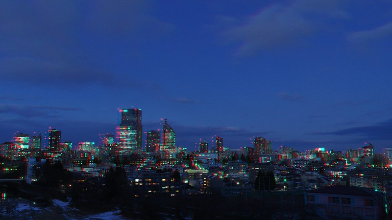 Central of Sendai at twilight, anaglyph