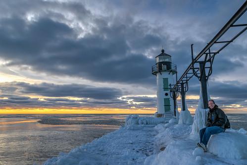 winter sunset sky lighthouse cold ice clouds geotagged evening frozen nikon unitedstates michigan stjoseph lakemichigan hdr saintjoseph selfie hss stjosephlighthouse nikond5300