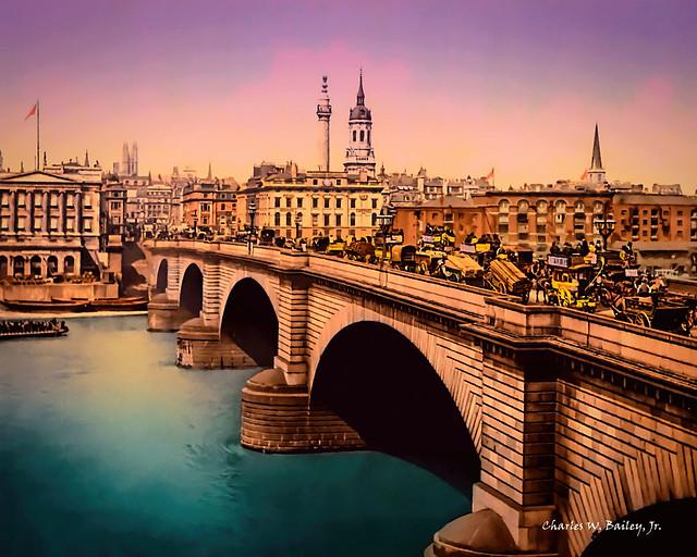 Digital Pastel Drawing of London Bridge by Charles W. Bailey, Jr.