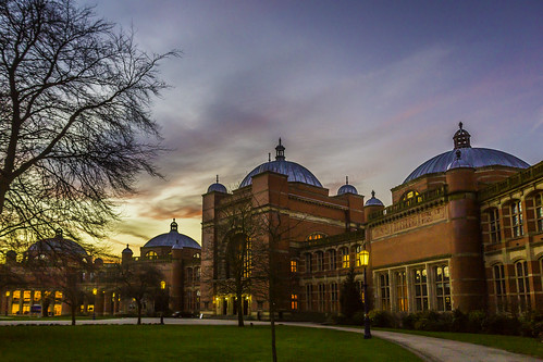 red brick clouds start sunrise view domes redbrick universityofbirmingham classicview