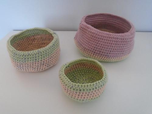 crochet baskets using tiger fabric yarn | by woolapple