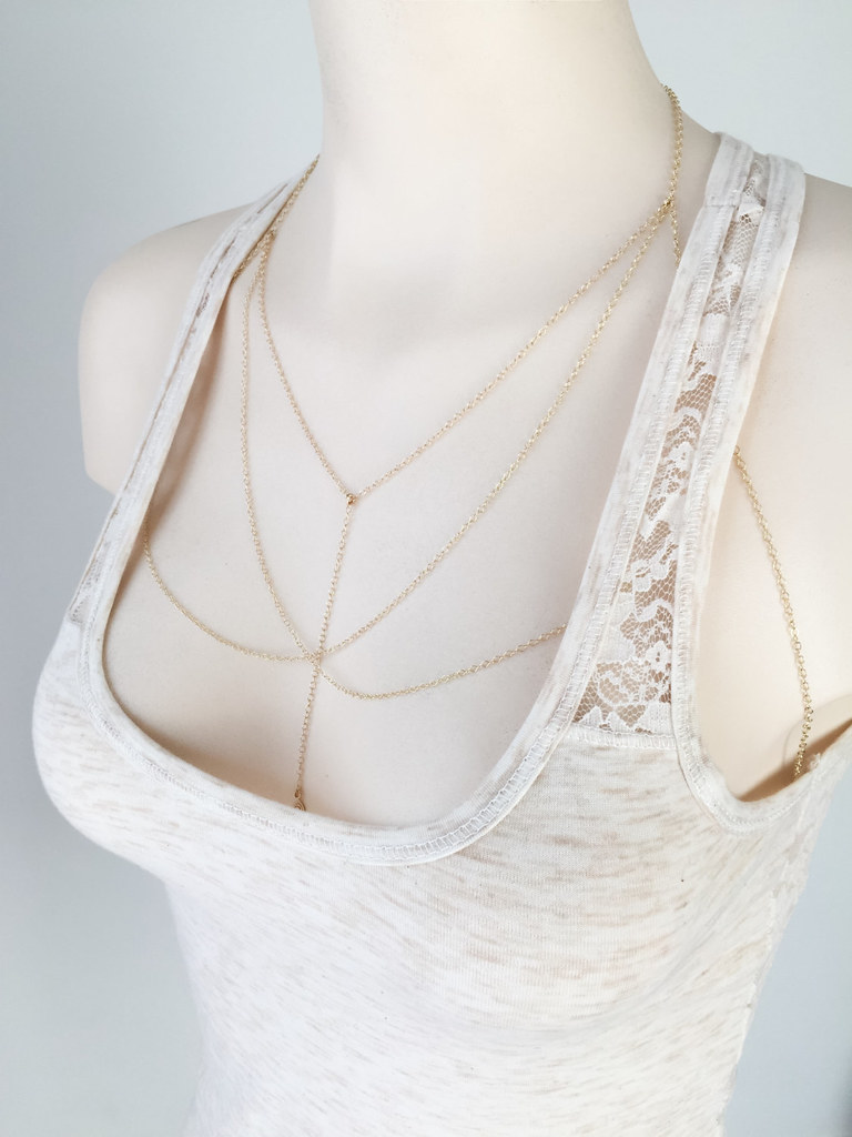 45ace7b1caea0d ... Gold chain bralette - Gold bra chain - Gold bra jewelry - Gold chain  lingerie -