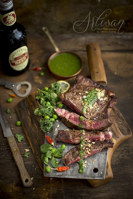 beef steak with kale pesto and almonds