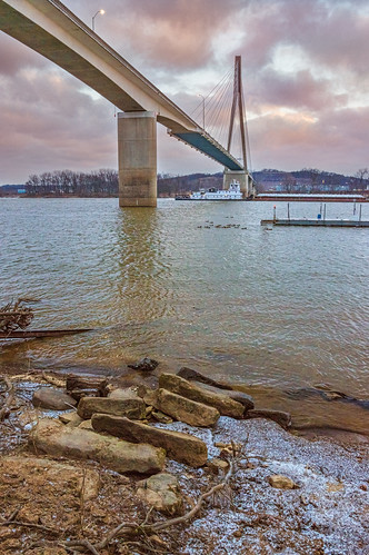 road morning bridge winter light ohio sky snow cold color ice water vertical architecture clouds docks sunrise river outdoors boat us rocks day unitedstates suspension stones huntington under ducks east cables westvirginia shore below underneath rectangle barge 31ststreet guyandotte cabellcounty