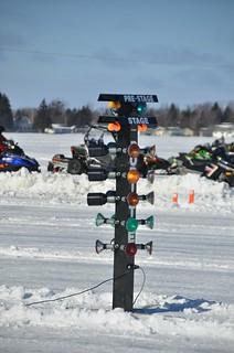 Christmas tree drag race start lights -- Snowmobile racing