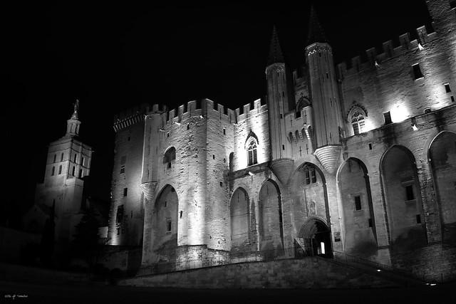 Avignon, le Palais des Papes dans la nuit.