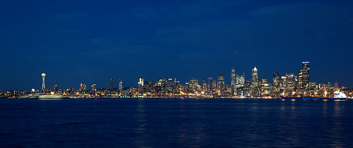 Downtown Seattle City Lights Panorama  + Ferry in Motion