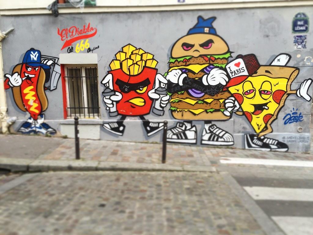 Iloveparis call666 by jaekeldiablo jaekeeldiablo pizza burger frites hotdog 666 streetart graffiti