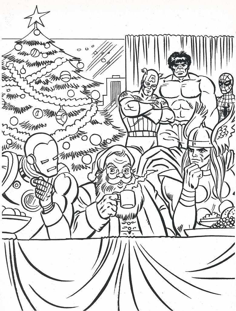 - The Marvel Super Heroes' Christmas Coloring Book Page Flickr