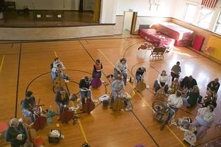 Yarn School: spinning in the gym