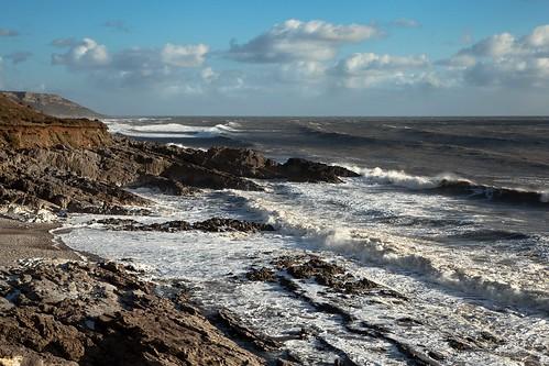 blue clouds skies windy horton gower rough seas slade scudding