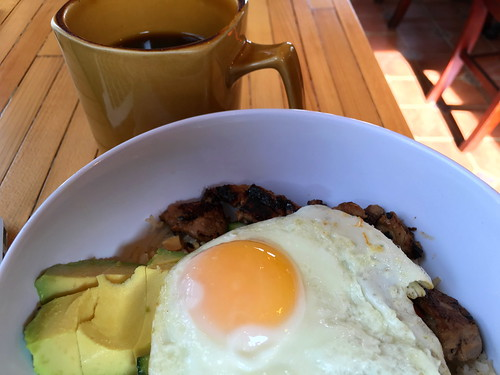 food coffee breakfast avocado pork brunch friedegg ricebowl senecasunrisecoffee