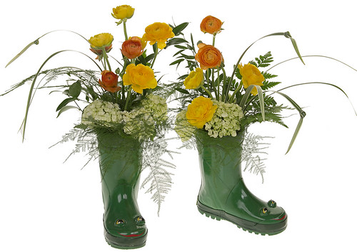 Spring Flowers & Rain Boots — Photo Courtesy David Kesler, Floral Design Institute, Inc. | by Flower Factor