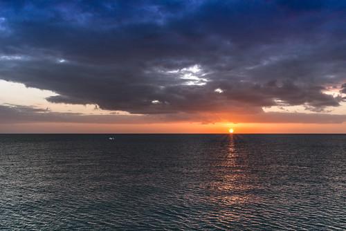 sunset sky water clouds pier florida naples