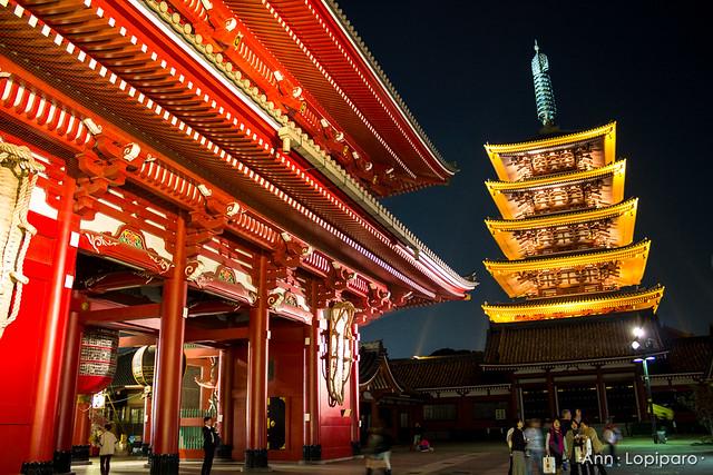 Senso-ji Hozomon Gate and Five Story Pagoda at Night