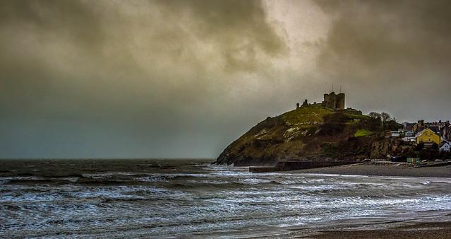 Stormy scene at Criccieth Castle