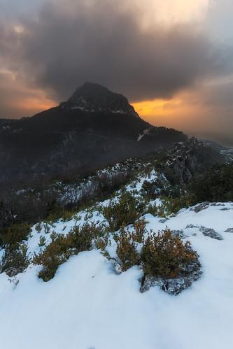 winter sky mountain snow nature clouds sunrise landscape frozen spain