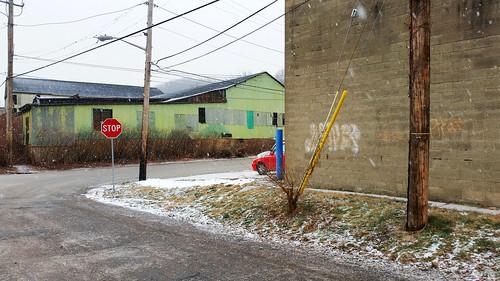 corner industrial intersection landscape lawrenceville pittsburgh road rustbelt snow streetscene urban urbanlandscape