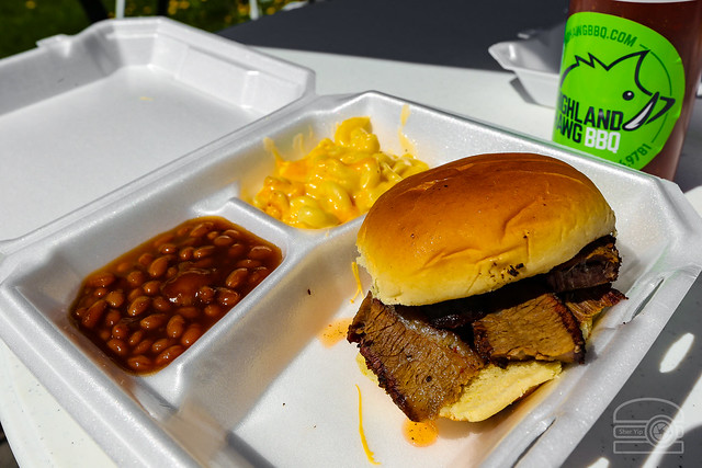 Pop up BBQ! Brisket Sandwich, BBQ Beans, and Mac and Cheese - Highland Hawg BBQ
