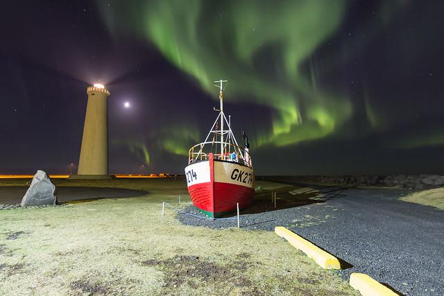 Aurora at the Gardur Lighthouse