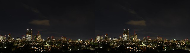 Central of Sendai at night, 4K UHD, stereo parallel view