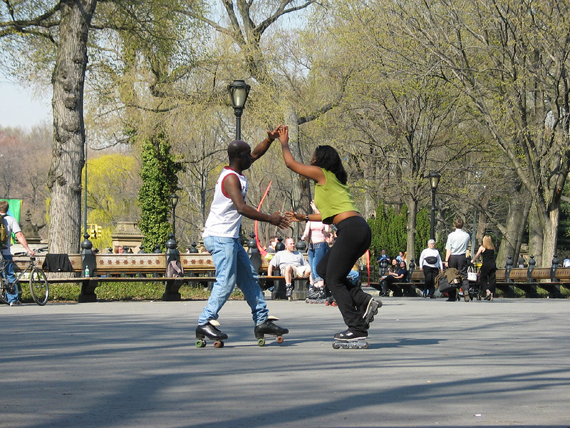 Dancing on roller skates