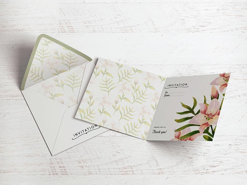Square Invitation Greeting Card Mockup Square Invitation