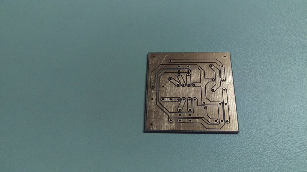 Milled PCB, drawing made in AutoCAD, conversion to G-code … | Flickr