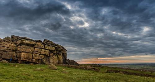 uk sky sun clouds sunrise canon landscape rocks yorkshire almscliffecrag 247028