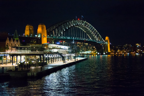 bridge water night landscape lights harbour sydney scenic australia