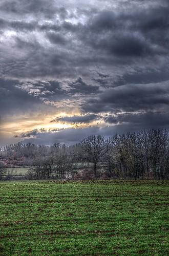 sunset sky sun clouds contrast landscape soleil nuages hdr