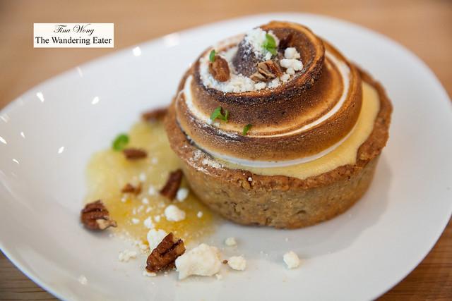 Lemon meringue pie, pecan shortbread crust, white chocolate