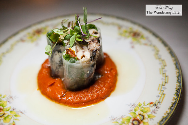 Grilled sardine spring roll, tomato, goat cheese
